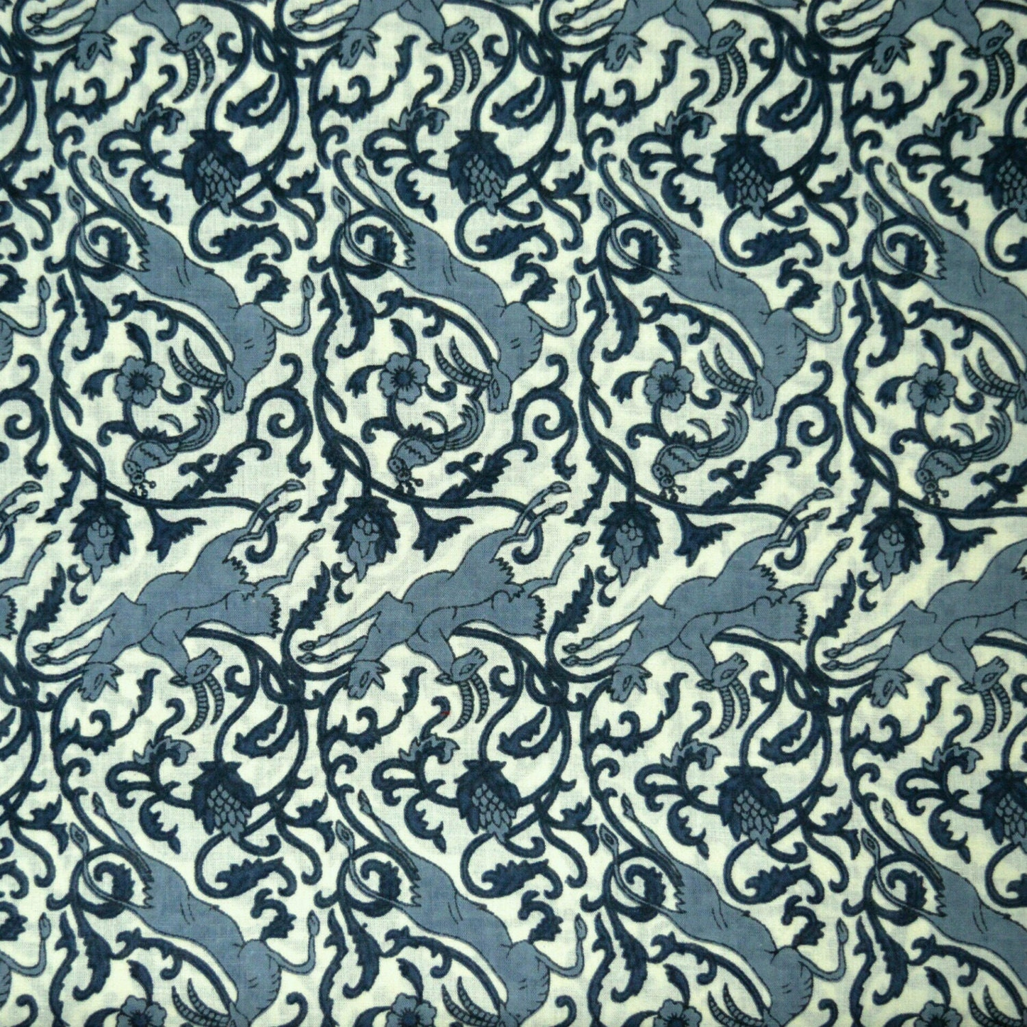 Grey floral sanganeri printed cotton fabric from fabjaipur for Printed cotton fabric