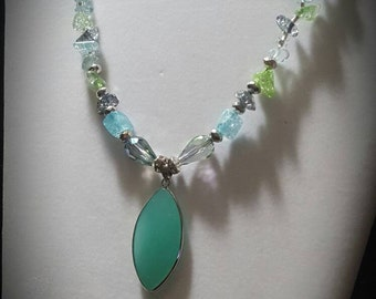 Beautiful blue green sea glass pendant necklace