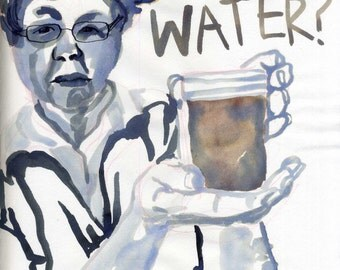Got Water? Watercolour / ink drawing.