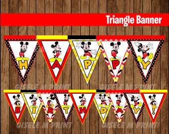 Mickey Mouse Banner, Printable Mickey Mouse Triangle Banner, Mickey party Banner instant download