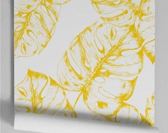 Wallpaper yellow Monstera