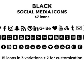 Black Social Media Icons Website Icons Blog Icons Social Media Icons Buttons Social Media Graphics Twitter