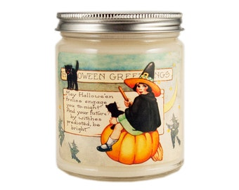 Halloween Witch Candle, Scented Candle, Soy Candle, Fall Candle, Container Candle, Halloween Candle, Halloween Decor, Pumpkin Spice Latte