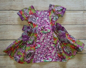 Mabel Custom Girl's Dress, Little Girls Dress, Toddler Dress, Bows, Floral Dress, Tula Pink,