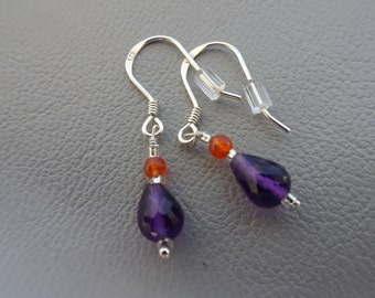 SALE!! 20% OFF!! Silver earrings with gemstone Carnelian and Amethyst - dangling - sterling 925 zilver - gift for girl woman