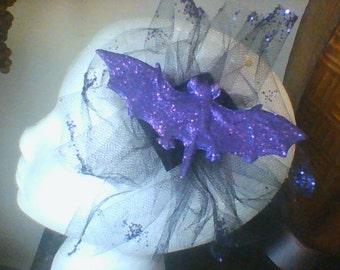 Halloween Purple Glitter Bat Toul hairbow
