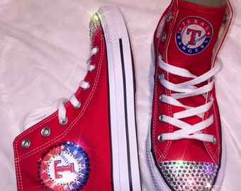 Texas Rangers Blinged Swarovski Crystal High top Converse Shoe - FREE SHIPPING