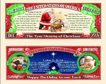 The True Meaning of Christmas Novelty Dollar Bill with Luke 2: 8-14