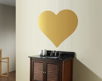 large  heart decal, wall sticker, vinyl hearts, metallic gold office decor, nursery room decoration, removable wall decals, vinyl wallpaper
