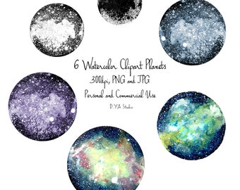 Watercolor Galaxy and Moon clipart for digital download high resolution hand painted outer space background textures abstract paint splatter