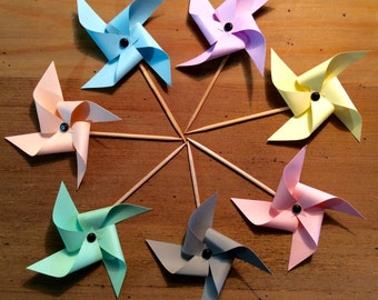 """7 cake toppers windmills collection """"Pastel"""""""