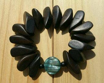 Beautiful Wood and Abalone Bracelet