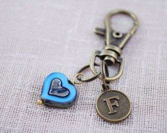 Blue heart keychain, FREE SHIPPING, bag accessories, custom personalized bronze key chain, st Valentin's day, love keyring, anniversary gift