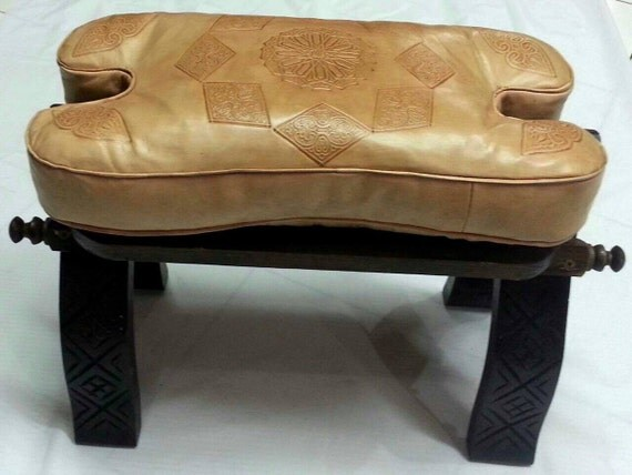 Moroccan leather bench filled leather pouf and by tribalinteriors Moroccan bench