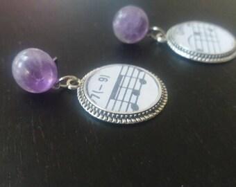 Amethyst Stone Musical Earrings