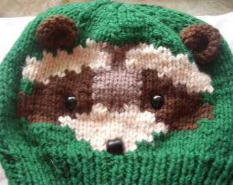Green Knitted hat with ferret on