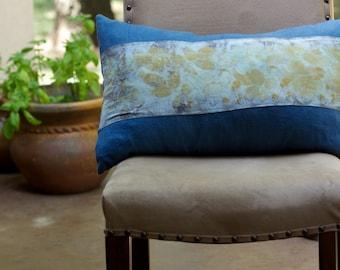 Blue Indigo Linen and Rose Pillow
