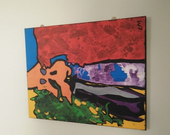Abstract Acrylic Canvas Painting 20 X 16