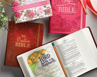 KJV Coloring Bibles for Illustrated Faith Journaling - My Creative Bible - Choose your cover - Pink Aqua Brown or Floral Cover