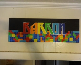"22"" Name Sign, Tetris, Wood Sign, Hand painted, Custom Sign"