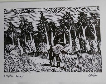 Cropton Forest looking for Gruffalos Hand Printed linocut  Card
