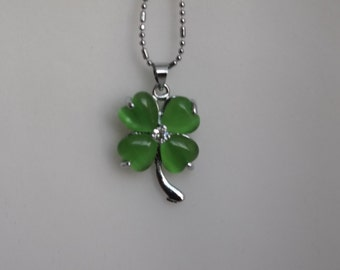 Lucky Green Four Leaf Clover Necklace.