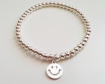 Sterling silver bracelet | Beads bracelet | Smiley face bracelet | Silver balls bracelet | 925 Silver Bracelet | Gift for her |
