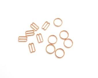 3 sets of (12 mm) Rose Gold Bramaking Rings & Sliders