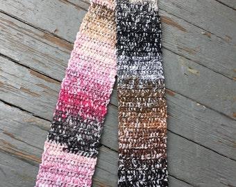Long Cozy Scarf Pinks/Brown/Black