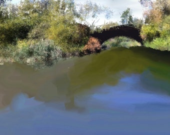 Digital Painting, Central Park Water View