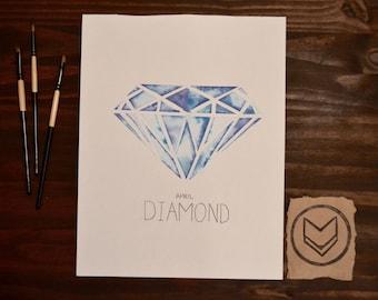 Custom April Watercolor Birthstone - Diamond