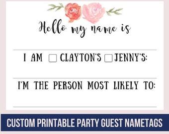 Custom Floral Printable Party Guest Nametags / Weddings / Baby Shower / Rehearsal Dinner / Wedding Shower / DIY Avery 8395