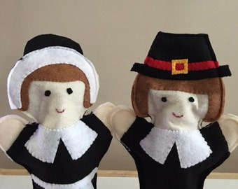 Thanksgiving Puppets - Pilgrim Girl - Pilgrim Boy - Native American - Turkey