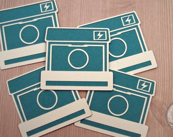 Retro Camera Teal & Purple - embellishment scrapbook - 3 pieces