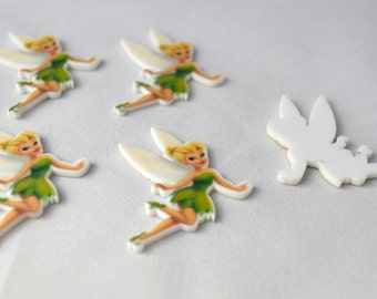 8 PC Tinkerbell Fairy Cup Cake Toppers Planar Resin Cabochon Embellishments