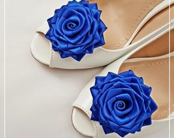 Satin rose shoe clips, wedding accessories, bridal shoe clips, flower shoe clips