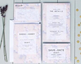 Lavender Wedding Invitation, Floral Wedding Invite, Purple Wedding Invitation Suite