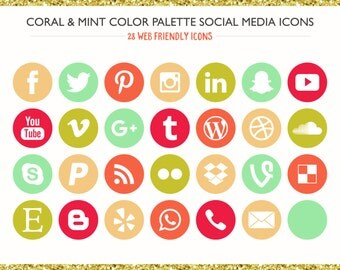 560 Social Media Icons! Coral & Mint Color Palette- PNG files- Digital Download- Blog/Wordpress/Web/Email Friendly