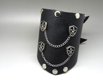 leather strap force studded black and silver rock