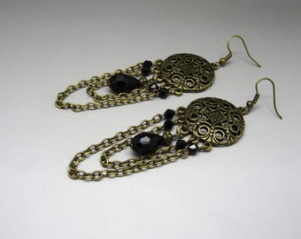 Victorian earrings bronze and black