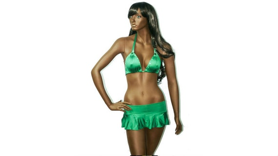 New Exotic Dancewear Stripperwear  Emerald Green Playful 3 Piece Skirt Set.