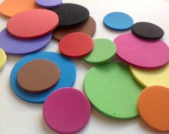 Sticker Circle Die Cuts, Self-Adhesive EVA Foam Circles for Kids and Craft Projects, Pack of 50, Choose Size and Colour