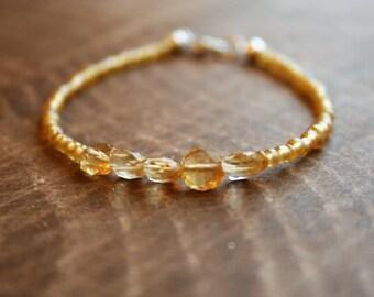 SUCCESS, Citrine Beaded Bracelet, Wish Bracelet, Positivity Bracelet, Sterling Silver Bracelet, Stacking Bracelet, Citrine Bracelet, Yellow