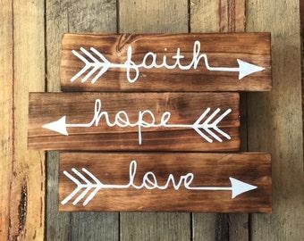 Handcrafted Timber Boho Arrow Faith Hope Love Home Decor Wall Hanging