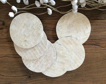 Hampton's Beach House Coastal Decor Capiz Shell Coaster Set of 6