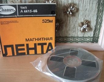 Vintage Reel to Reel Magnetic Record Tape/ Vintage Soviet Reel To Reel Tape/Magnetic Recorded Tape/Made in USSR Tape/ Reel to Reel Spool