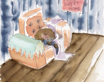 canvas baby printed from original watercolor Home Sweet Home