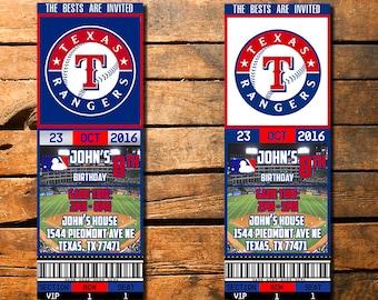 Texas Rangers Birthday Ticket Invitation, Ticket Invitation, Texas Rangers Birthday Ticket, Rangers Invitation