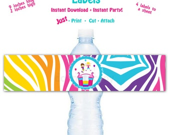 Printable Water Bottle Label Printable Bounce House Birthday Party Water Bottle Label