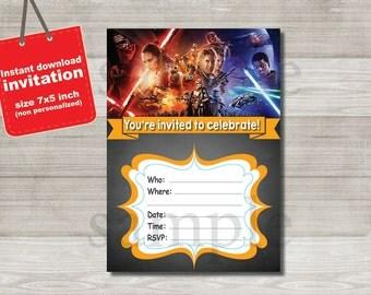 Star Wars invitation - DIGITAL FILE -  birthday party invitation - Instant Download